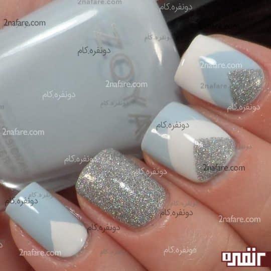 ترکیب زیبایی از لاک سفید و آبی و نقره ای متالیک