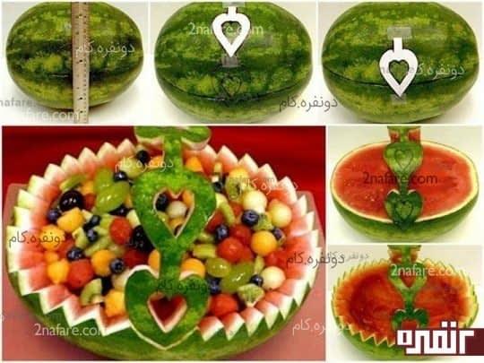 تزئین هندوانه به شکل سبد میوه