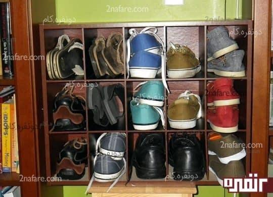 قفسه ی چوبی با عمق 25 سانتی متر برای کفشها