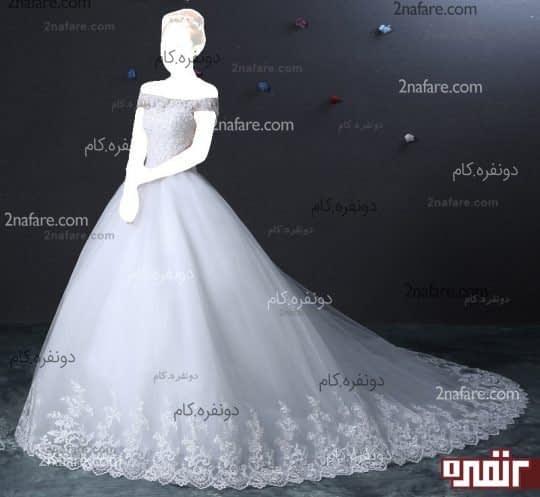 لباس عروس دنباله دار پفی