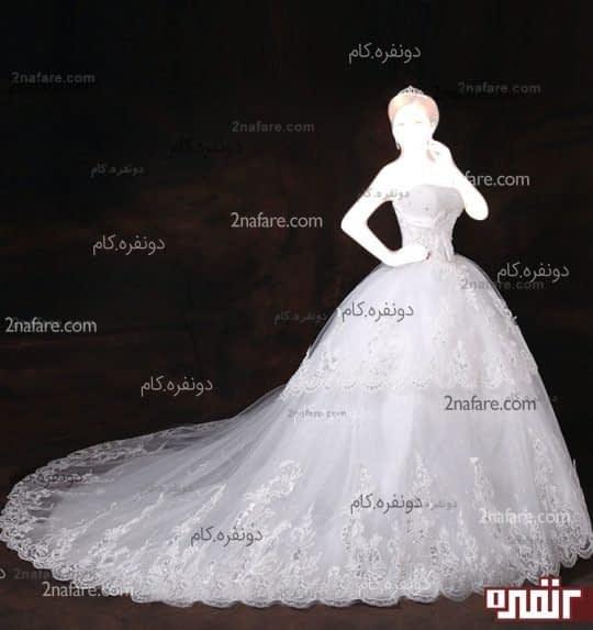 لباس عروس پفی با دامن پفی دانتل