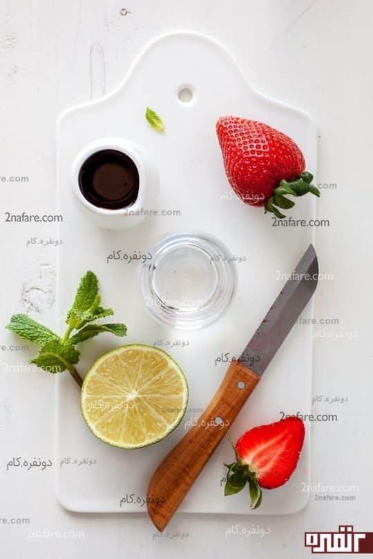 مواد لازم برای آلاسکای توت فرنگی و موهیتو