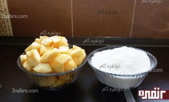 مواد لازم برای تهیه ی مربای سیب