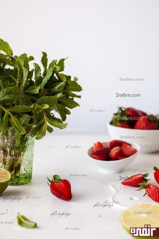 نعنای تازه و توت فرنگی های آبدار، مواد لازم برای خوشمزه ترین نوشیدنی ها