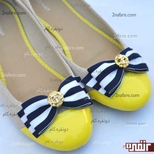 کفش تخت لیمویی رنگ براق با پاپیون های راه راه