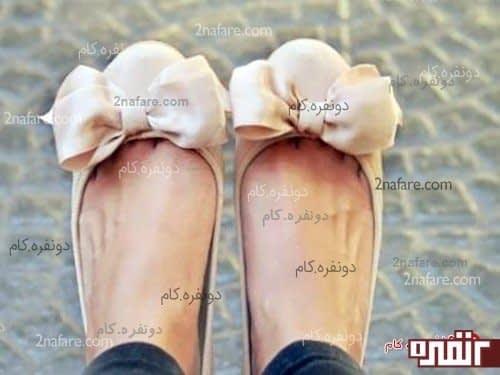 کفش عروسکی بسیار زیبا با پاپیون روبانی