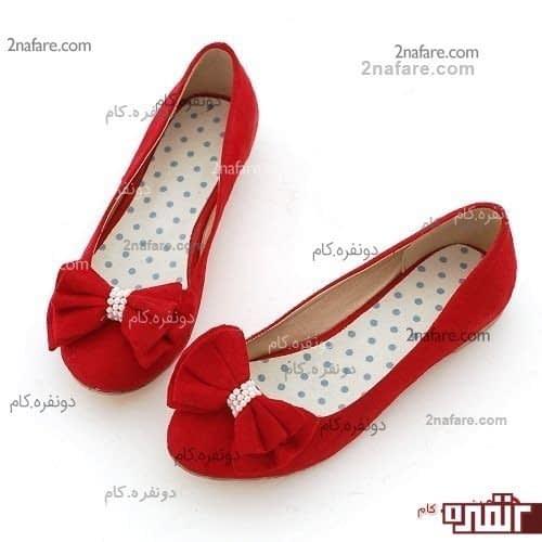 کفش عروسکی قرمز با پاپیون مروارید