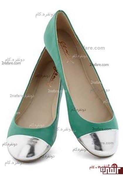 کفش عروسکی لامه سبز رنگ