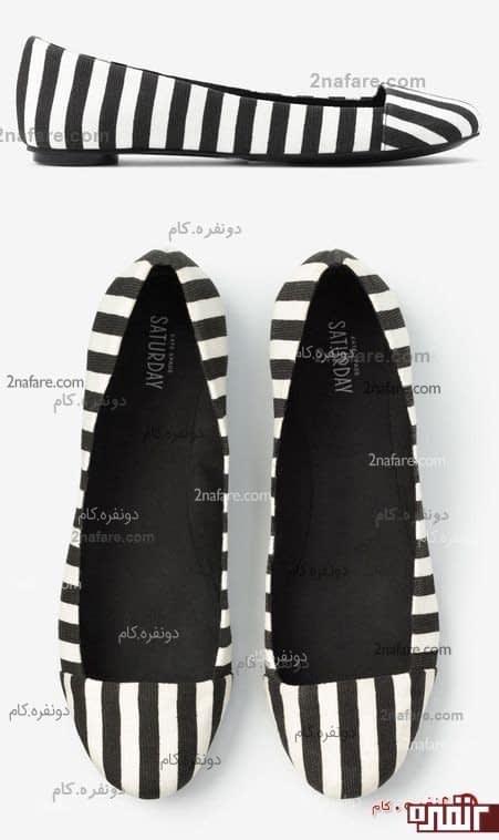 کفش عروسکی پارچه ای سیاه و سفید، کفشی شیک و راحت