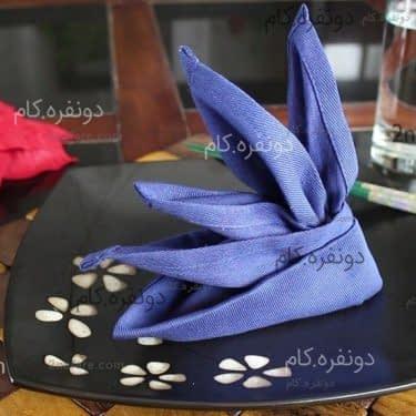 تزیین دستمال سفره پرنده بهشتی