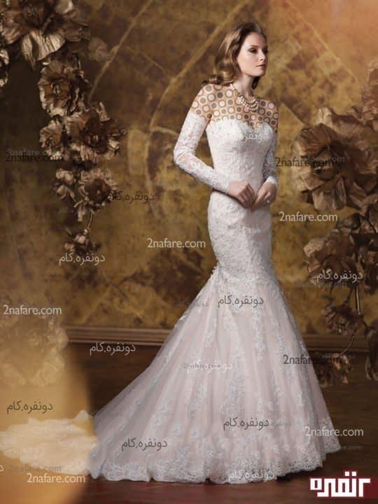 لباس عروس بدون پف با آستین جدا