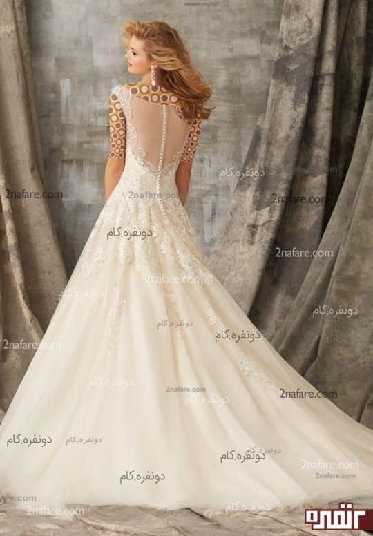 لباس عروس دانتل دنباله دار