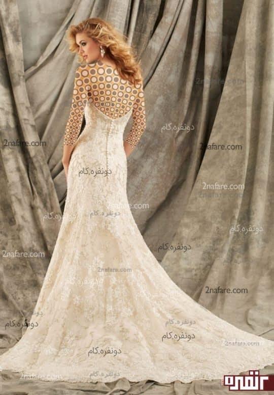 لباس عروس دکلت دنباله دار