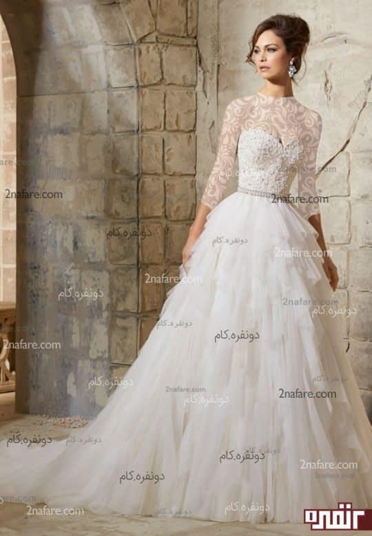 لباس عروس دکلت و دنباله دار