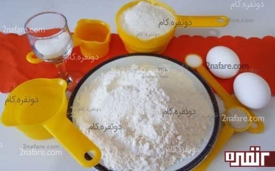 مواد لازم برای تهیه ی نان نارگیلی