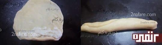 فرم دادن به خمیر بصورت حلزونی