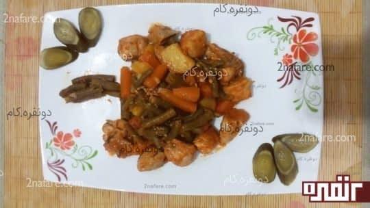 خوراک مرغ و لوبیا سبز رژیمی