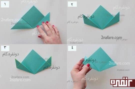 مراحل ساخت گل کاغذی به روش اوریگامی