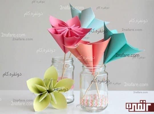 گل های کاغذی رنگارنگ به روش اوریگامی