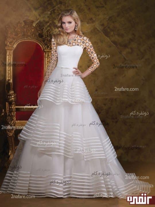 لباس عروس با دامن طبقه ای