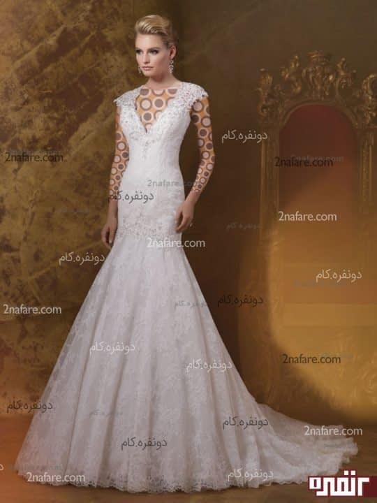 لباس عروس دنباله دار مدل 2015