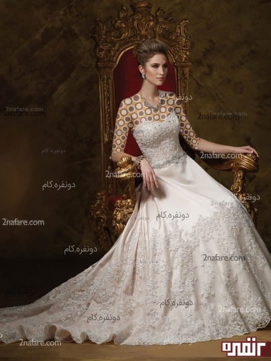 لباس عروس زیبا و دنباله دار