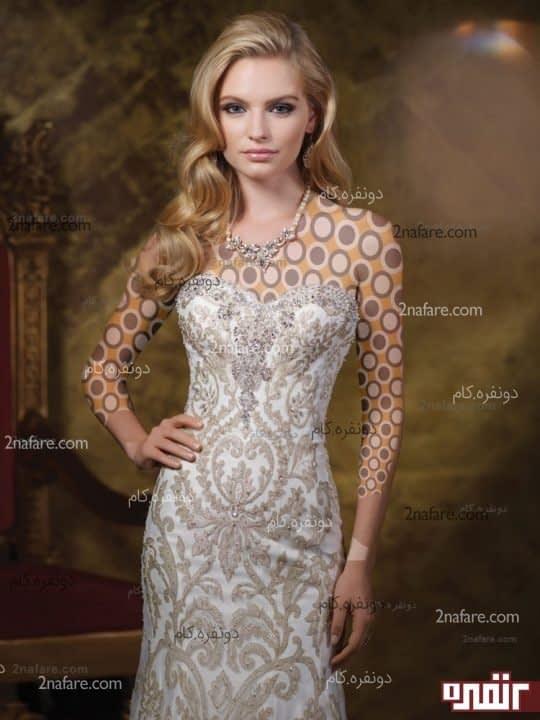 لباس عروس طلاکوب مدل 2015