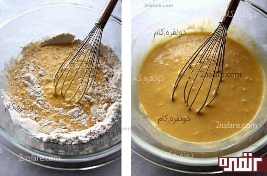 مخلوط کردن زرده تخم مرغ