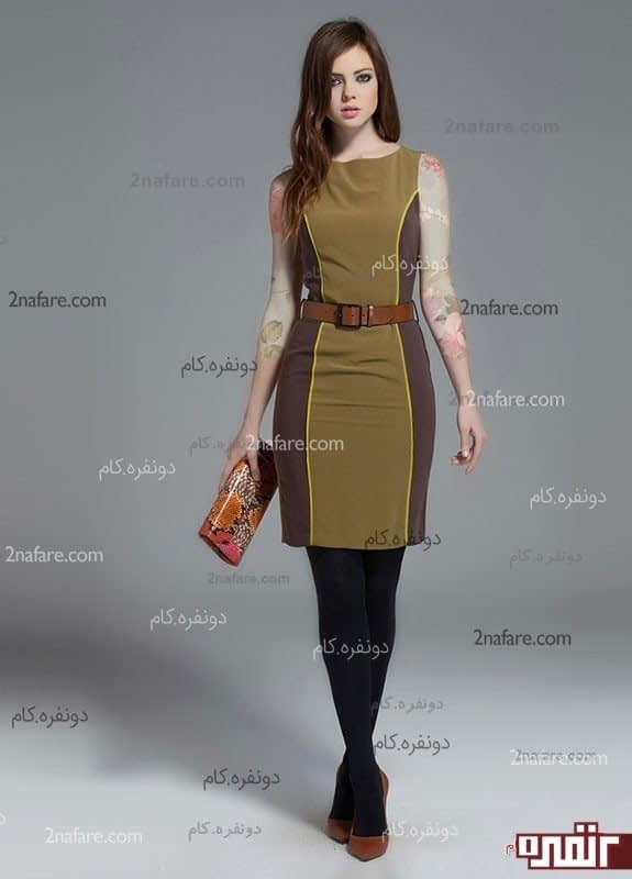 مدل پیراهن کوتاه ساده کرپ مجلسی