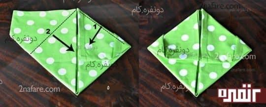 مرحله ی سوم تزئین دستمال سفره شکل خرگوش