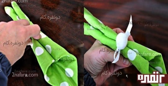 مرحله ی پنجم تزئین دستمال سفره شکل خرگوش