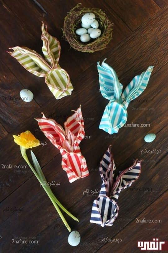 تزئین دستمال سفره شکل خرگوش