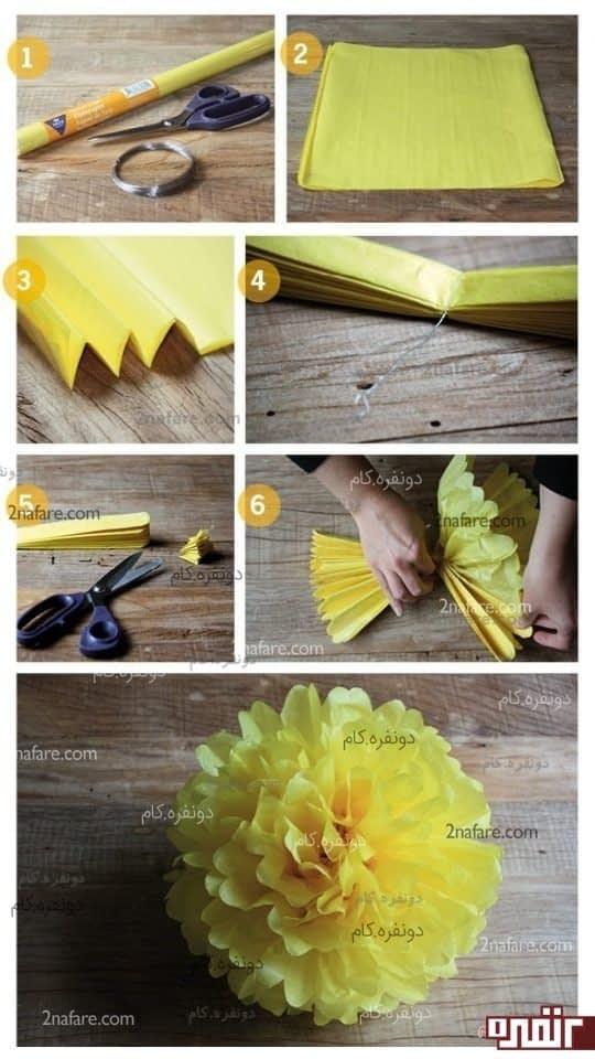 آموزش ساخت گل داوودی کاغذی