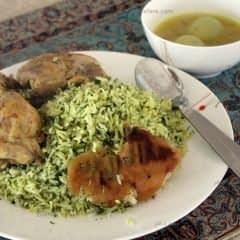 سبزی پلو با مرغ