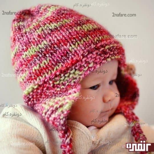 کلاه زیبای بافتنی بچگانه