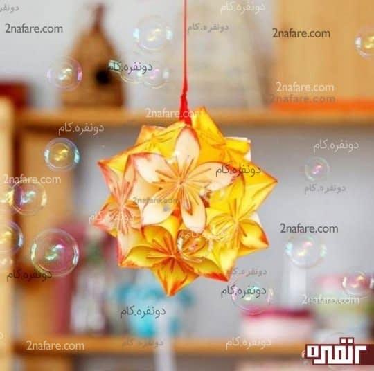 آویز با گلهای اوریگامی