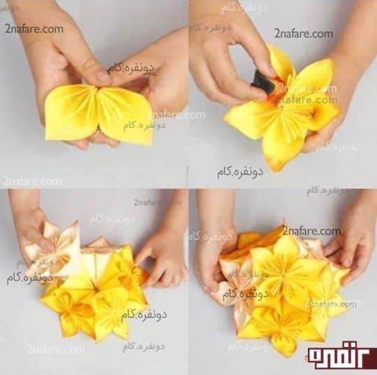 چسباندن گلبرگ ها و گل ها به هم