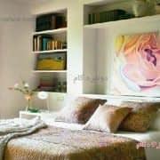 استفاده از یک دیوار برای چیدن اتاق خواب