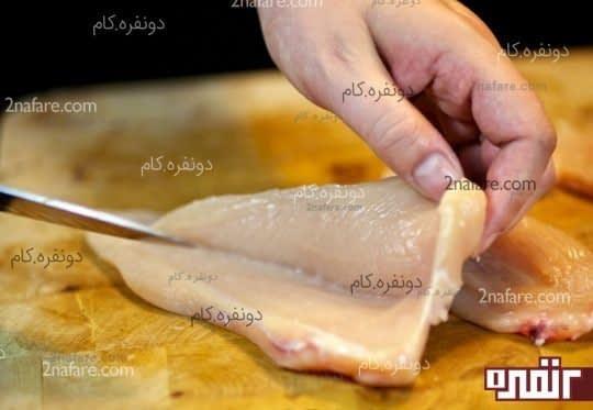 برش دادن سینه مرغ