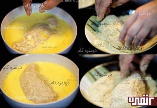 غلتاندن مرغ در مواد