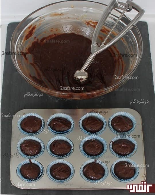 مواد کاپ کیک رو در قالب بریزید
