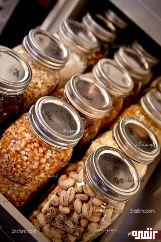 استفاده از شیشه مربا برای ذخیره حبوبات و آجیل