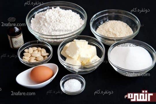 مواد لازم برای شیرینی بادام