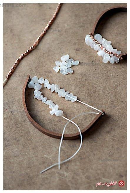آموزش ساخت دستبند چرم و سنگ