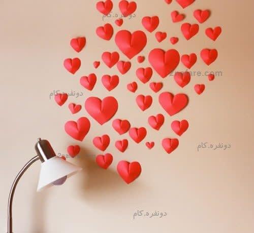 تزیین دیوار با قلب های سه بعدی