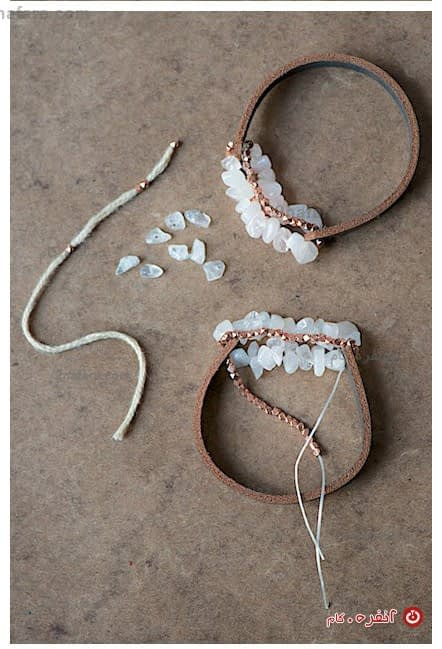 دستبند چرم و سنگی