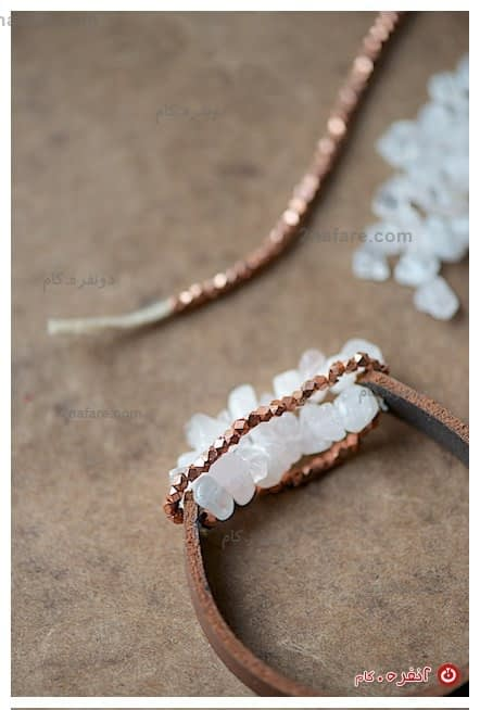 دستبند چرم و سنگ