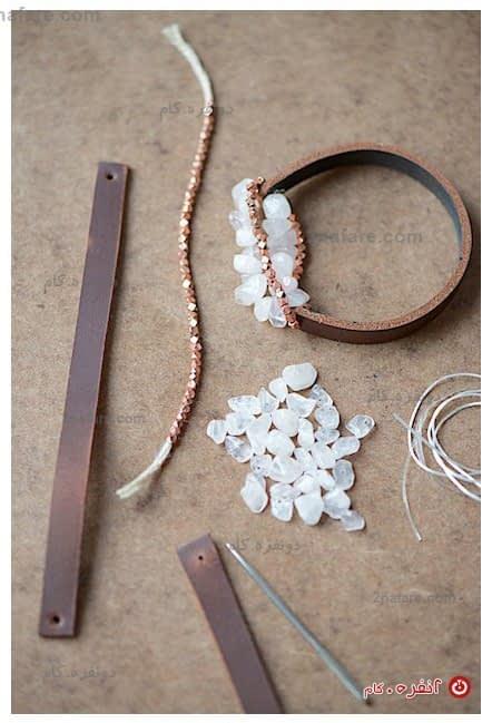 لوازم مورد نیاز برای ساخت دستبند چرم و سنگ