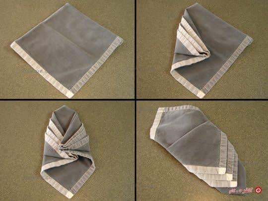 روش تا کردن الماس جا قاشقی