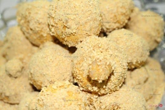 قارچ آغشته به آرد سوخاری و تخم مرغ